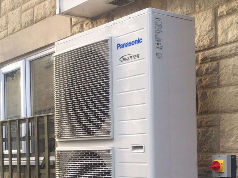 The Panasonic Aquarea heat pump in it's native environment