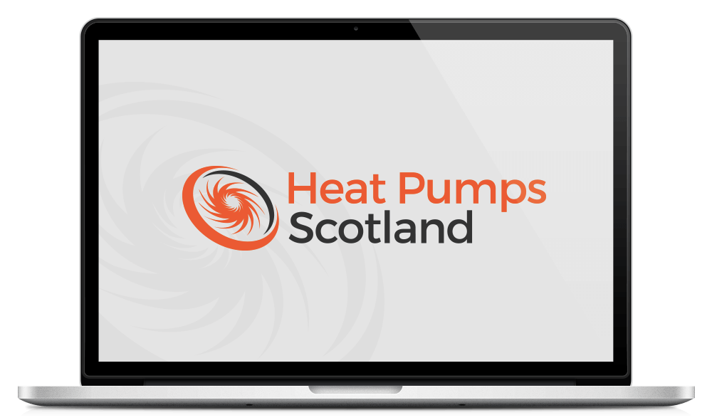 Open Macbook with Heat Pumps Scotland logo on the screen