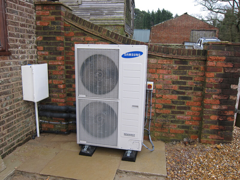 samsung heat pumps on wall